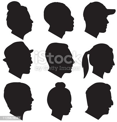 Vector silhouettes of nine adult head silhouettes.
