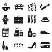 Adult Icons. Black Flat Design. Vector Illustration.