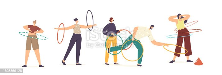 Adult Male and Female Characters Exercising with Hula Hoop Rolling on Waist and Arms and Throw. Summertime Recreation