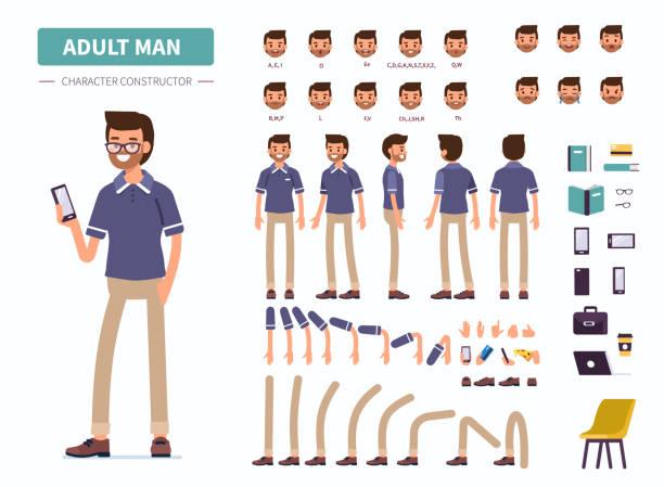 dorosły mężczyzna - grupa przedmiotów stock illustrations