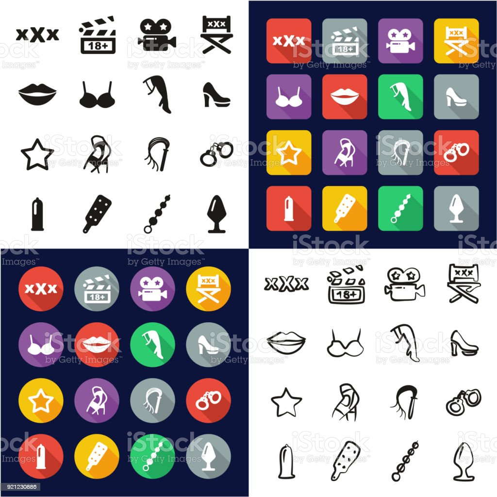 Adult Movie All in One Icons Black & White Color Flat Design Freehand Set vector art illustration