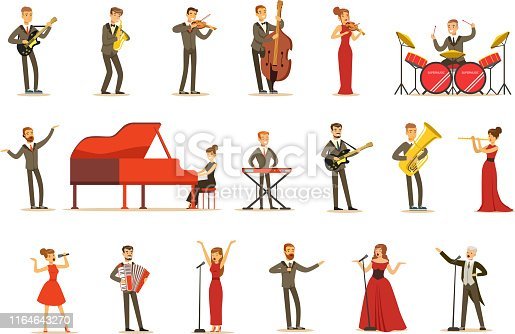 Adult Musicians And Singers Performing A Musical Number On Stage In Music Hall Set Of Cartoon Characters. People Singing And Playing Musical Instruments In Concert Vector Illustrations.