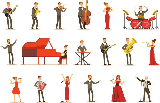 bildbanksillustrationer, clip art samt tecknat material och ikoner med vuxna musiker och sångare som utför ett musikaliskt nummer på scen i musikhallen uppsättning seriefigurer - orkester
