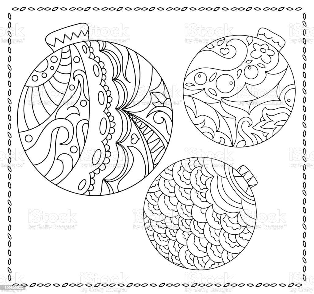 Kleurplaten Van Kerstmis Nieuwjaar.Volwassene Of Tiener Kleurplaat Met Kerstmis Of Nieuwjaar Doodle Illustratie Stockvectorkunst En Meer Beelden Van Abstract