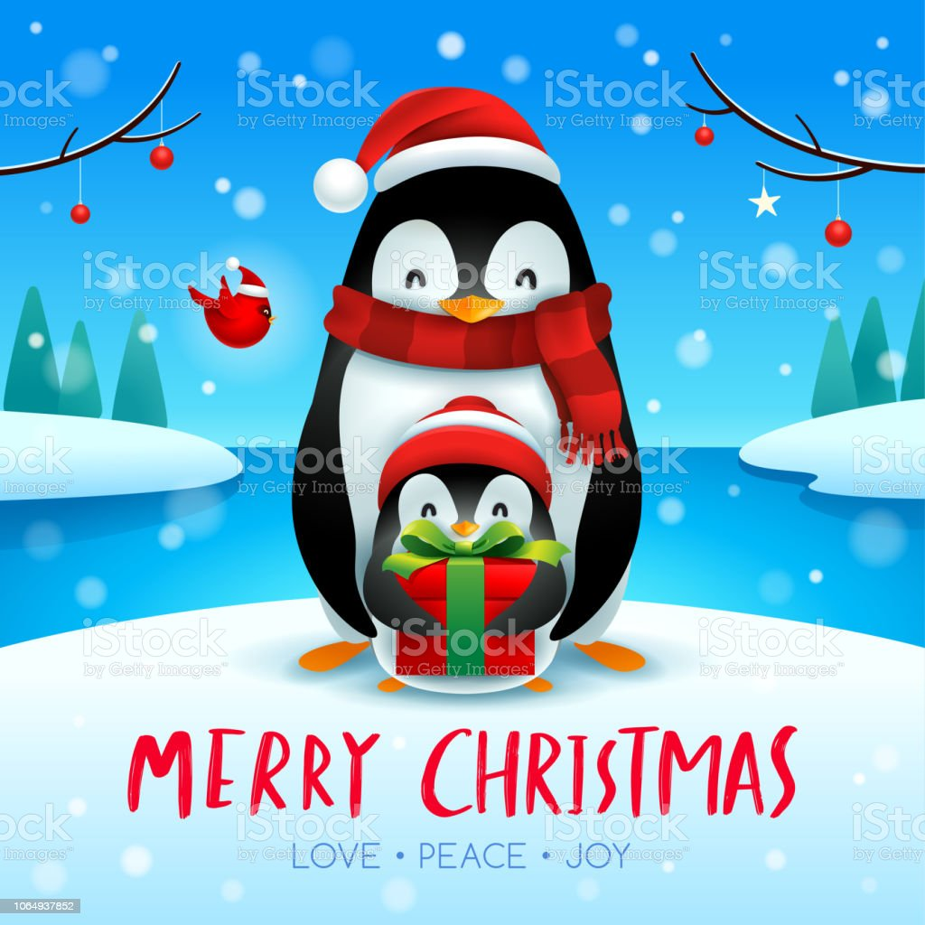 7249980c31b Adult Penguin And Baby Penguin In Christmas Snow Scene Christmas ...