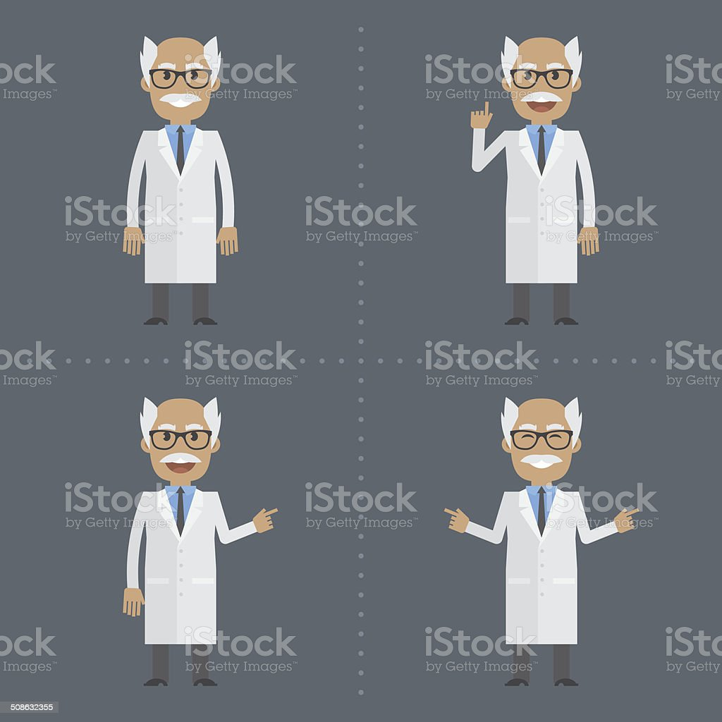 Adult scientist indicates in various poses vector art illustration