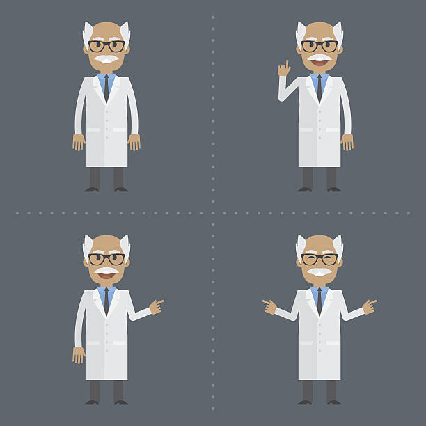 adult scientist indicates in various poses - old man funny pictures stock illustrations