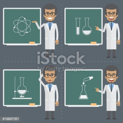 Illustration, adult scientist indicates to chalkboard, format EPS 8