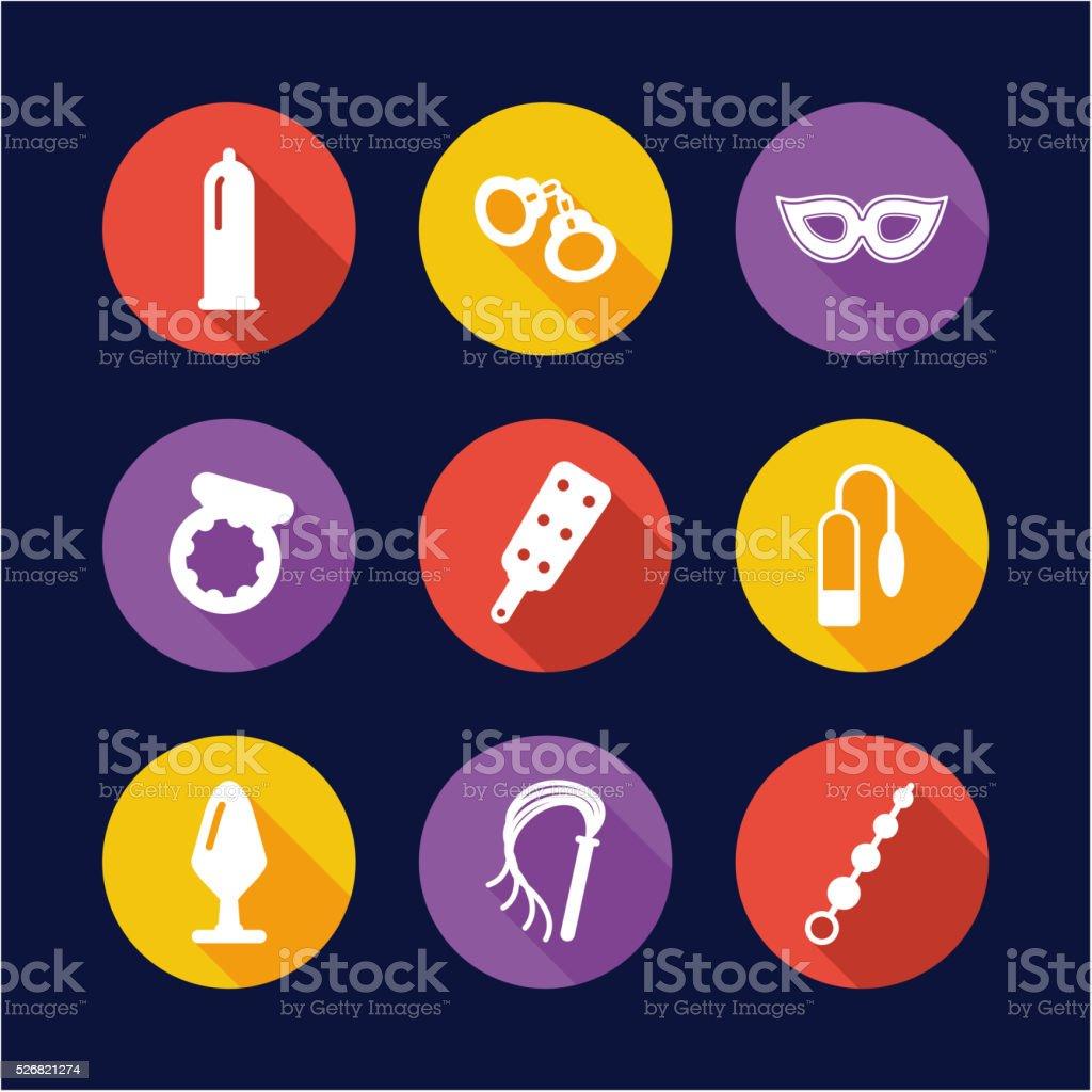 Adult Sex Toys Icons Flat Design Circle vector art illustration
