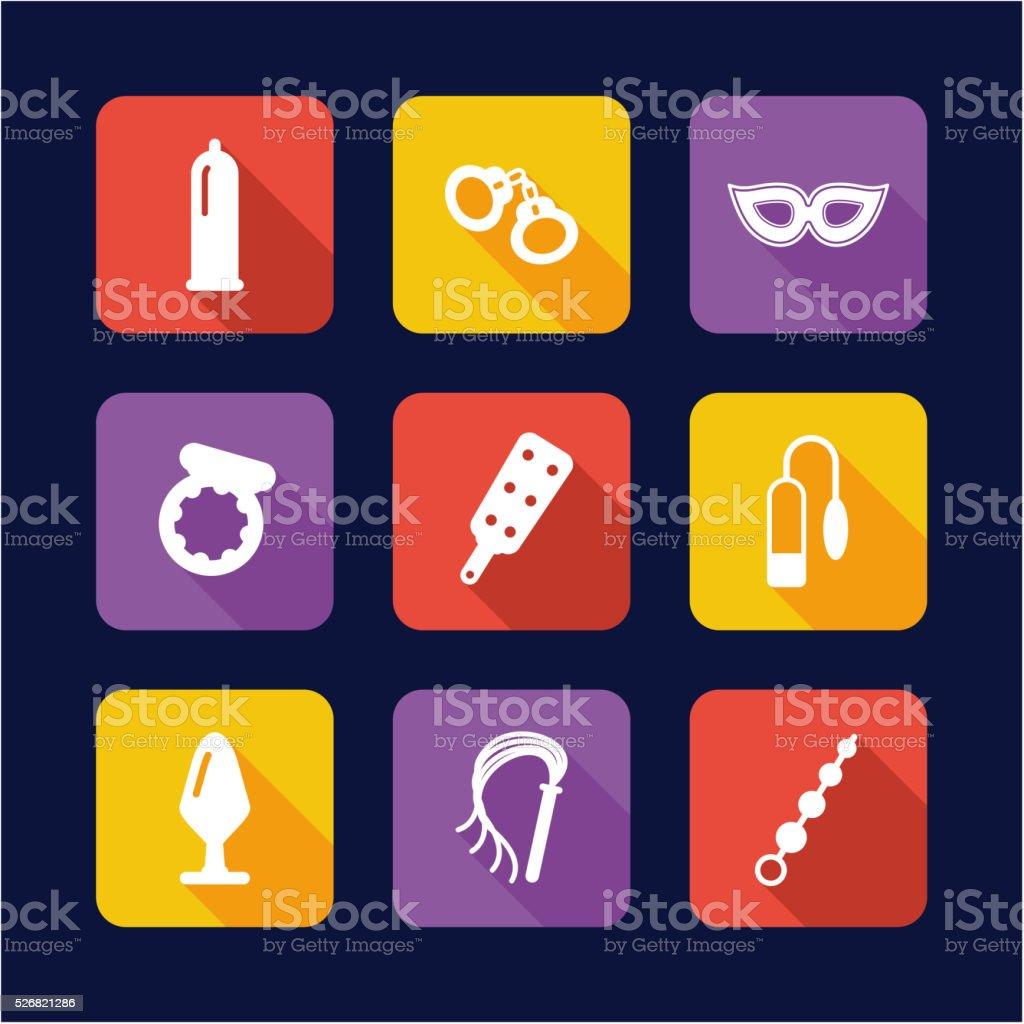 Adult Sex Toys Icons Flat Design vector art illustration
