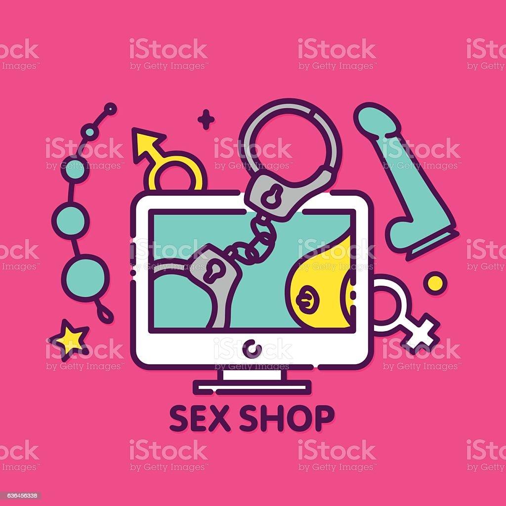 Adult toys sex shop online vector web illustration banner - Illustration .