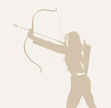 Adult woman aiming bow and arrow