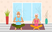 Adult Woman and Man Meditating in Pose Lotus, Home Interior. Leisure of Pensioners