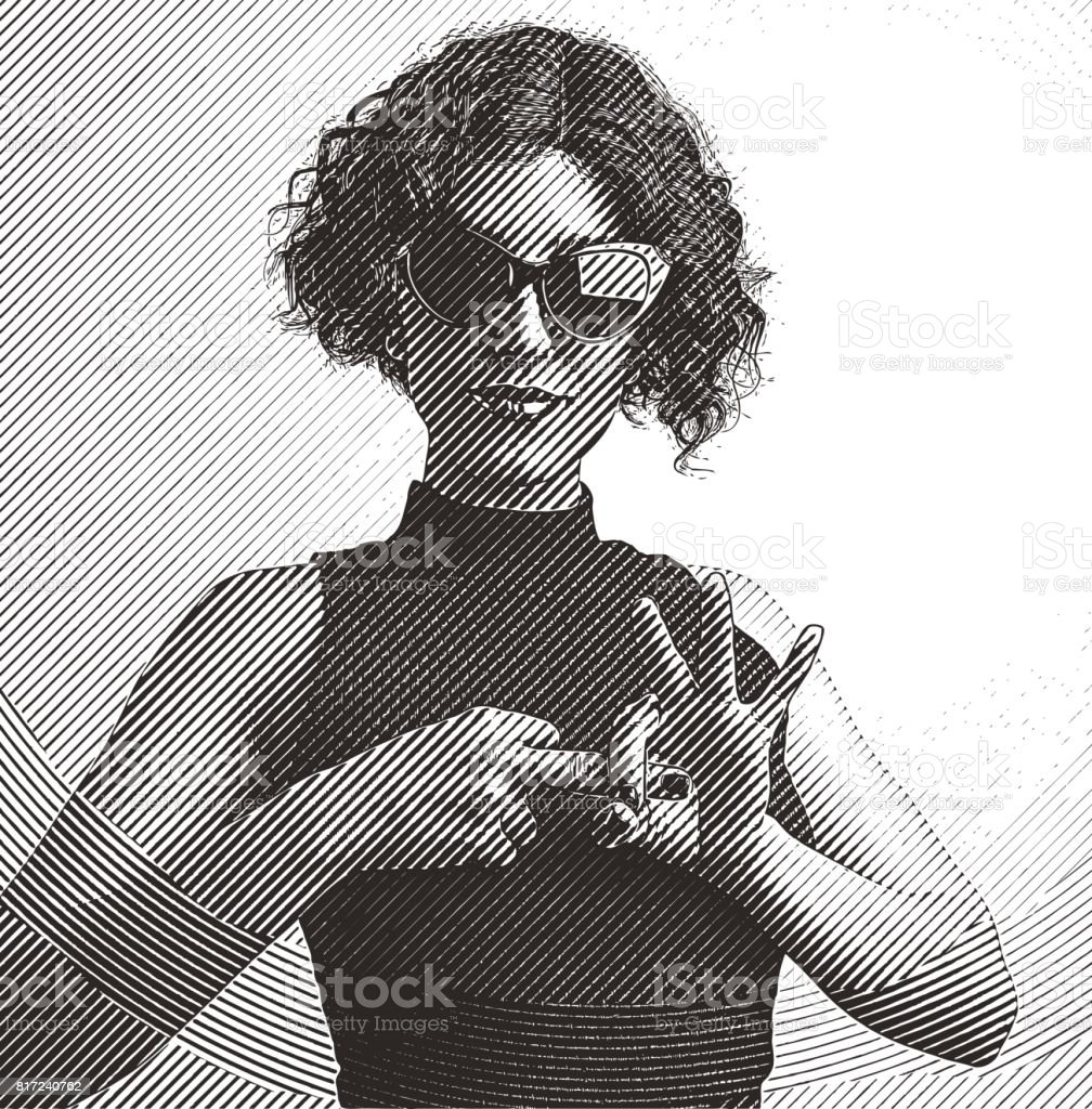Adult woman making flirting hand gesture with fingers vector art illustration