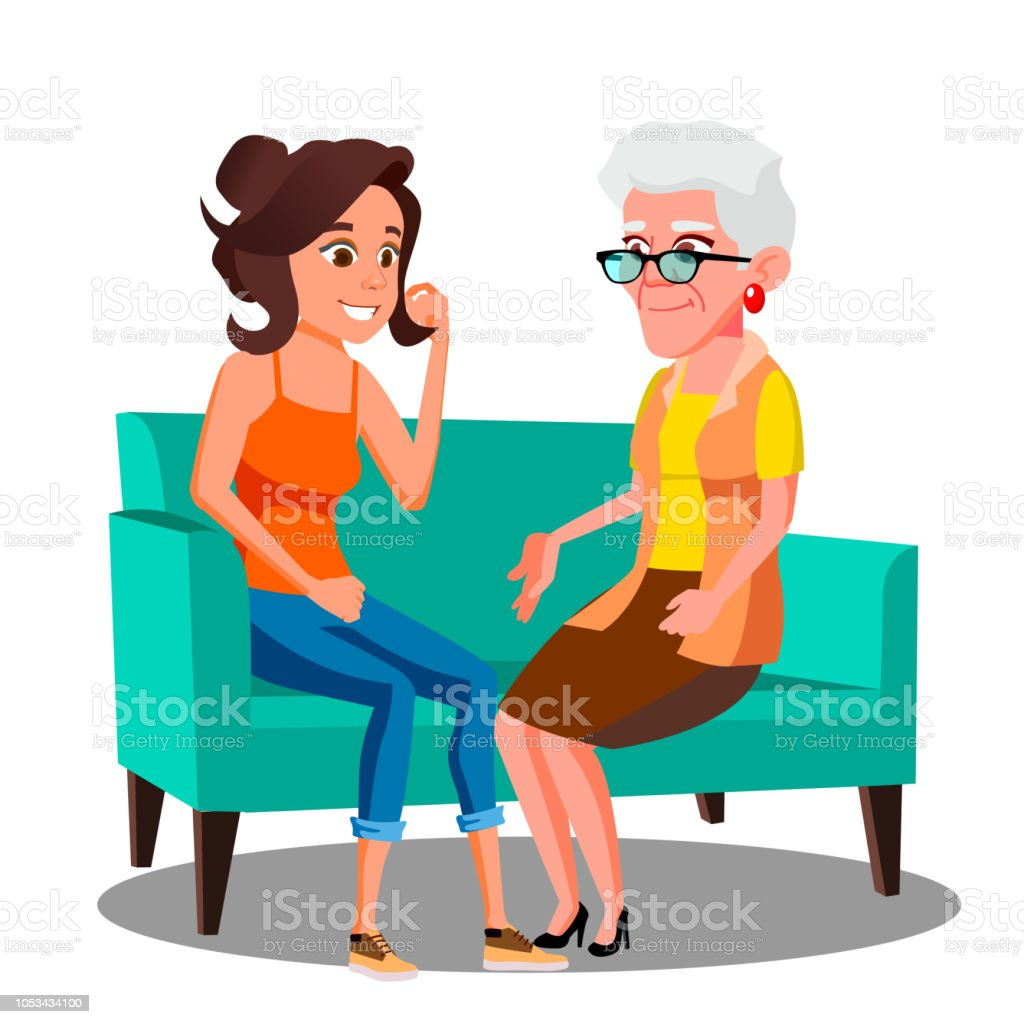 Adult Woman Talking To Her Mature Mother On The Couch Vector. Isolated Illustration royalty-free adult woman talking to her mature mother on the couch vector isolated illustration stock illustration - download image now
