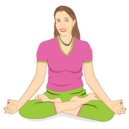 adult woman with facial wrinkles sits in lotus pose vector