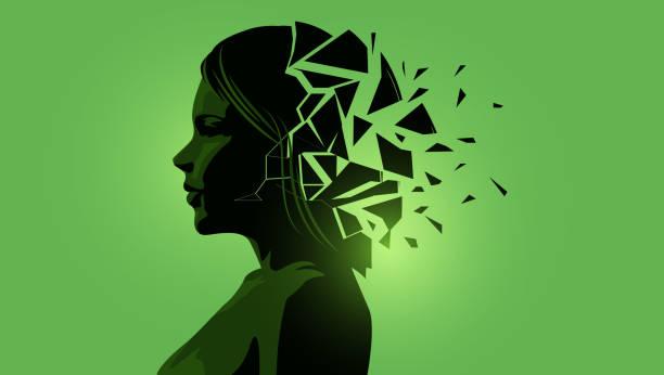 Erwachsene Frauen mit einem gebrochenen Geist – Vektorgrafik