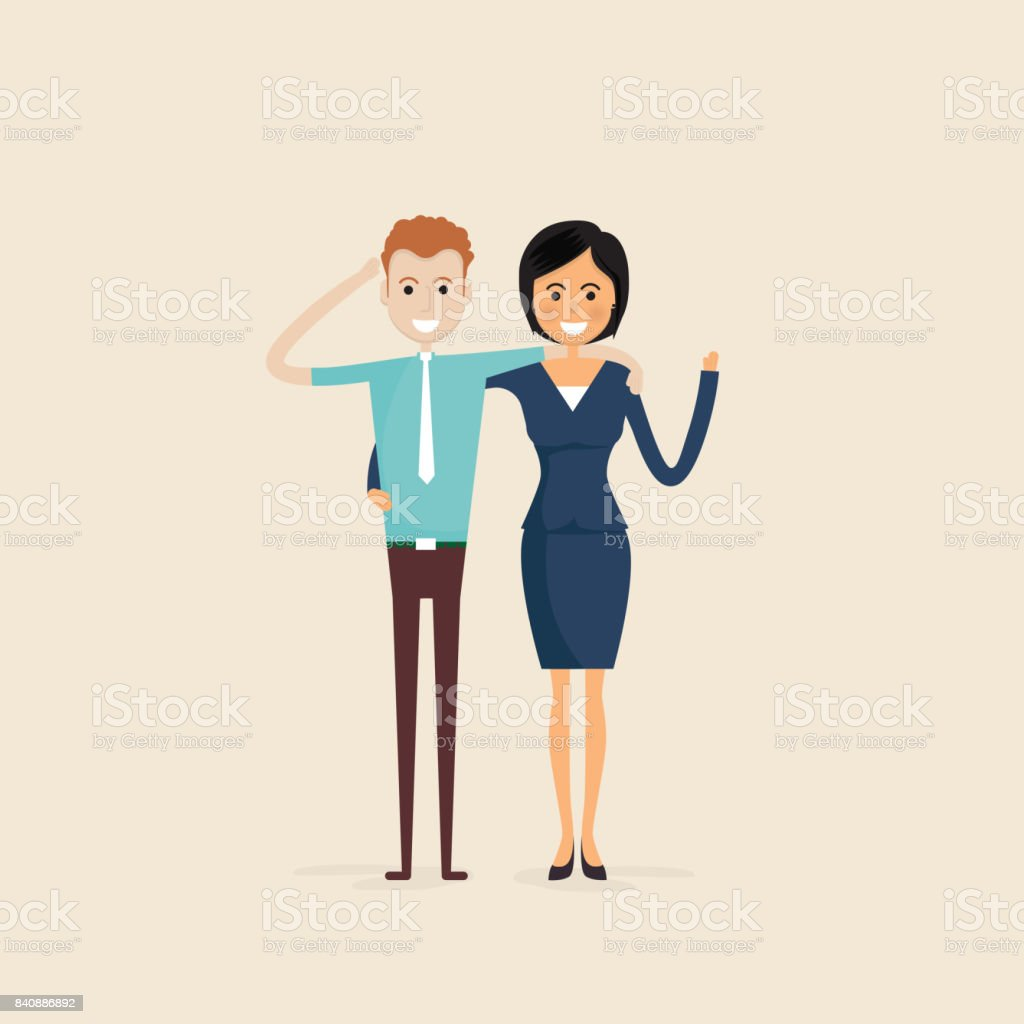 Adult,Men,Women,Two best friends.Happy smiling young man and woman friends.Happy best friends meeting.Happy couple icon.Happy friends icon.Friendly hug and Friendship concept. vector art illustration