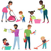 Adults and kids cleaning together. Children helping their parents with housework. Family in various cleaning positions cartoon vector illustration