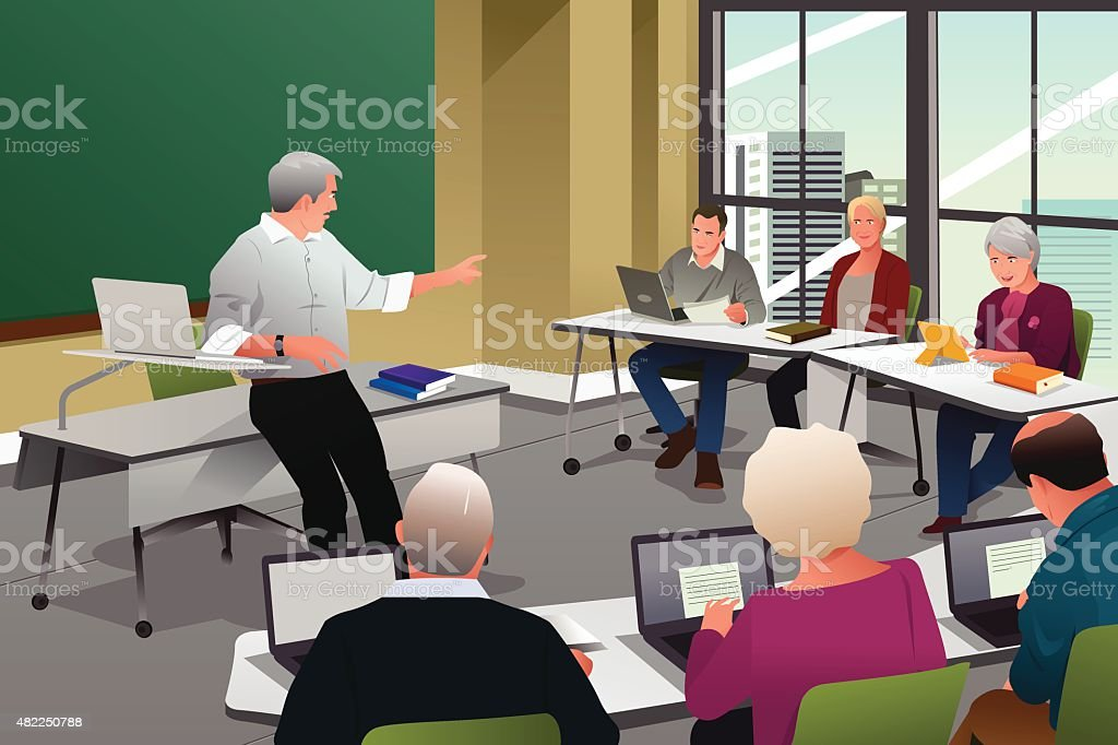 Étudiants adultes dans une salle de classe - clipart vectoriel de 2015 libre de droits