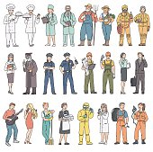 Adults people different professions in uniform. Labor Day women and men in professional clothes. Vector illustration in line art style on white background