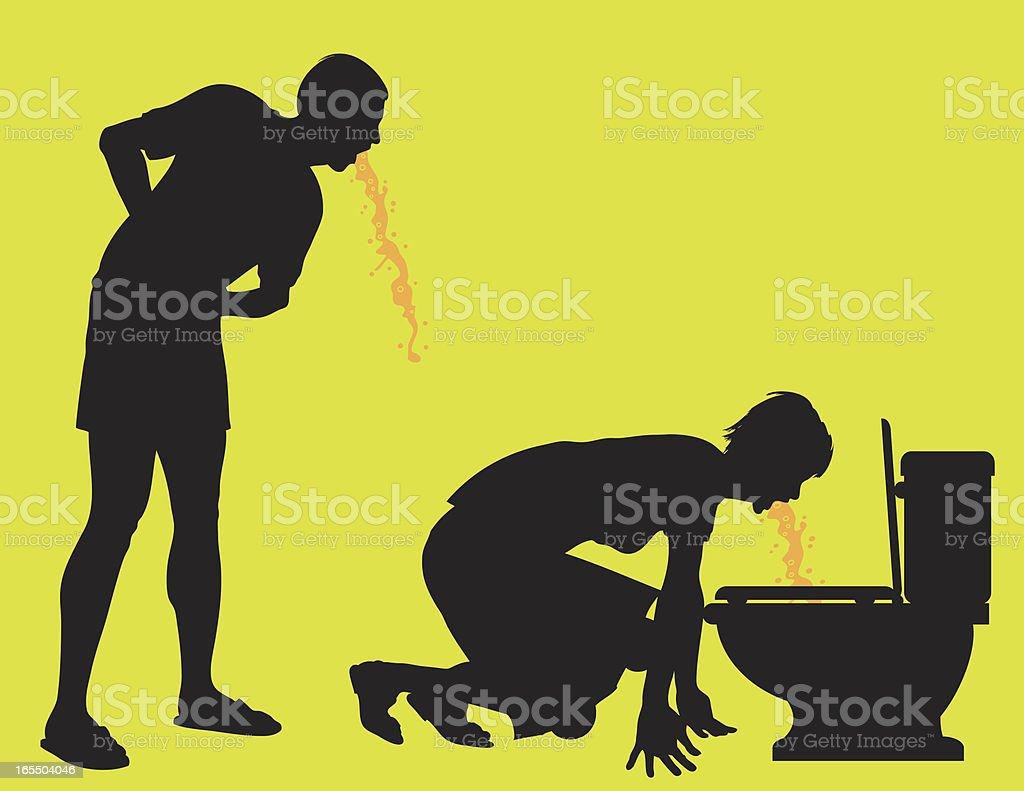 Adults Vomiting vector art illustration