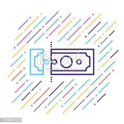 Line vector illustration of payment bill.