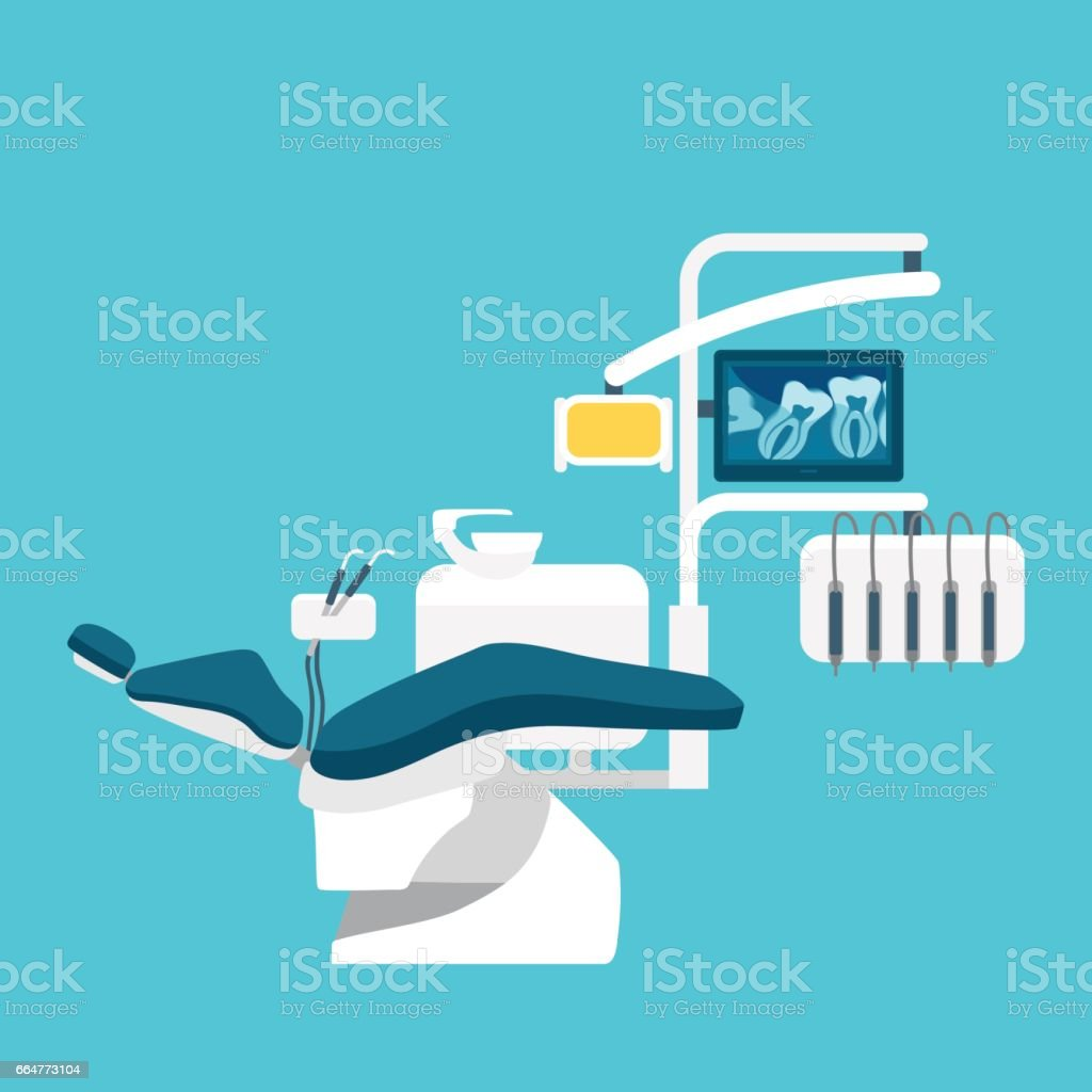 Advanced dentist chair blue. X-rays of the tooth. vector art illustration