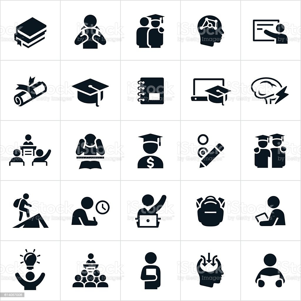 Advanced Education Icons vector art illustration