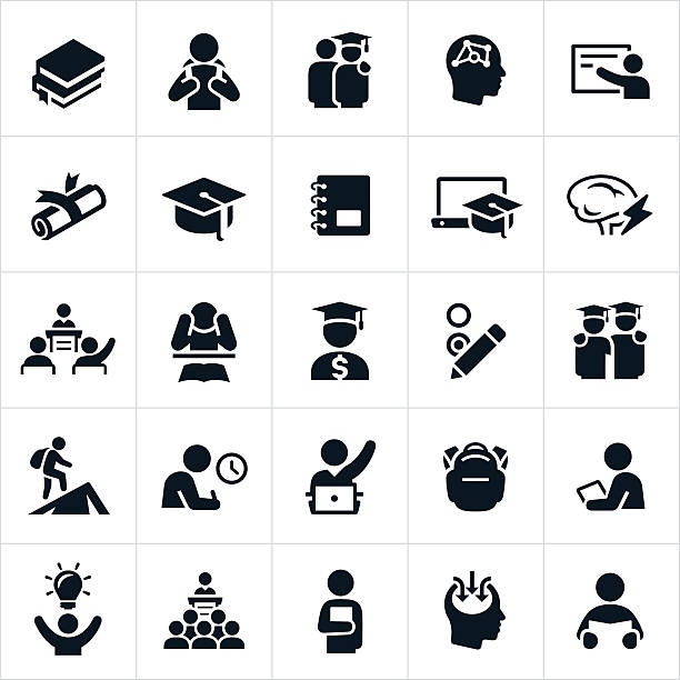 Advanced Education Icons An set of education icons. The icons represent higher learning, college, university or advanced learning. They include students, teachers, professors, graduates, graduation, lecturing and learning among others. students stock illustrations