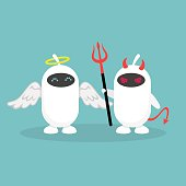 Advantages and disadvantages of modern technologies. A pair of white robots dressed like an angel and a devil / flat editable vector illustration, clip art