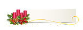 Advent banner with candles, card, golden stars and bow  Advent arrangement, Vector illustration isolated on white background