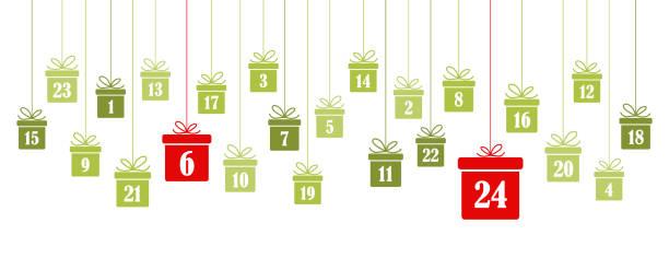 illustrations, cliparts, dessins animés et icônes de calendrier de l'avent 1 à 24 sur les cadeaux de noël - calendrier de l'avent