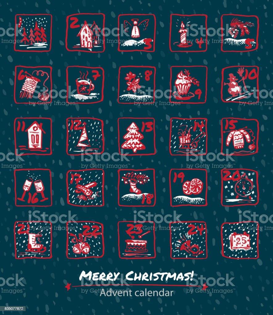 Calendario de Adviento 25 días de Navidad. Set de iconos son elaborados por mano, tinta, pincel - ilustración de arte vectorial