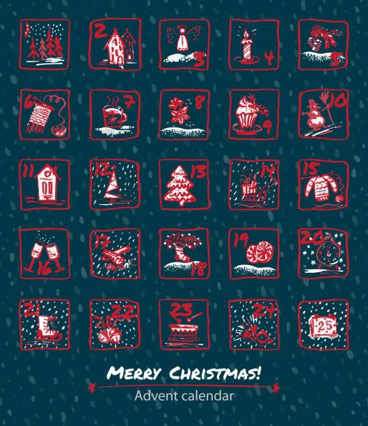 ilustraciones, imágenes clip art, dibujos animados e iconos de stock de calendario de adviento 25 días de navidad. set de iconos son elaborados por mano, tinta, pincel - adviento