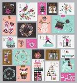 Advent calendar. Set of 25 Christmas illustrations.