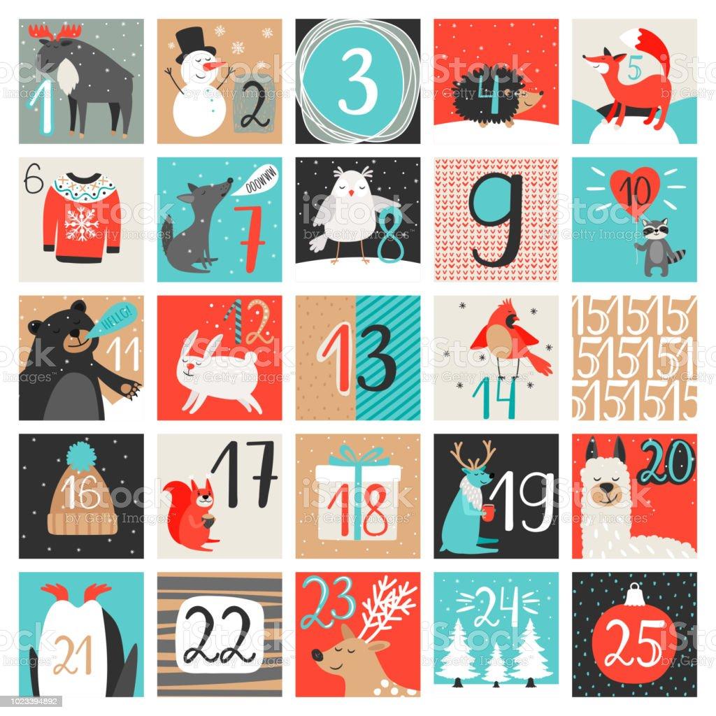 Adventskalender. December nedräkning kalender vektorillustration, julafton kreativa vintern bakgrund set med siffror - Royaltyfri 2019 vektorgrafik