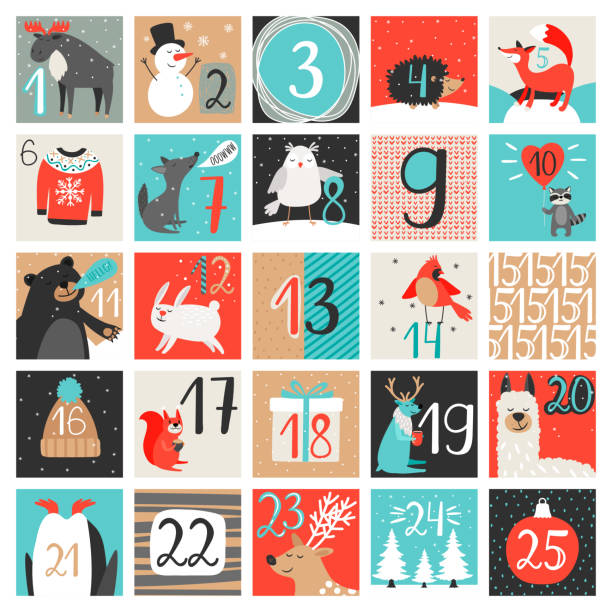 advent calendar. december countdown calendar vector illustration, christmas eve creative winter background set with numbers - advent stock illustrations