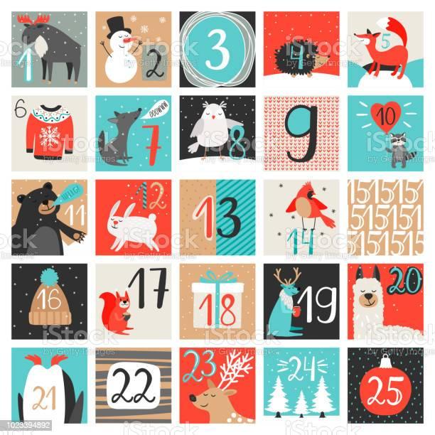 Adventskalender December Nedräkning Kalender Vektorillustration Julafton Kreativa Vintern Bakgrund Set Med Siffror-vektorgrafik och fler bilder på 2019