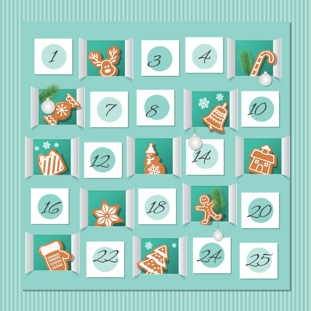 advent calendar, decorated wirh gingerbread cookies. countdown to christmas. vector - advent stock illustrations
