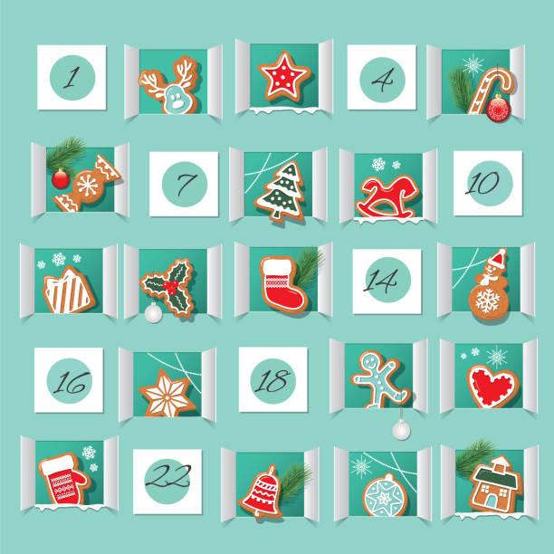 illustrations, cliparts, dessins animés et icônes de calendrier de l'avent, biscuits au pain d'épice wirh décorés. compte à rebours jusqu'à noel. vecteur - calendrier de l'avent