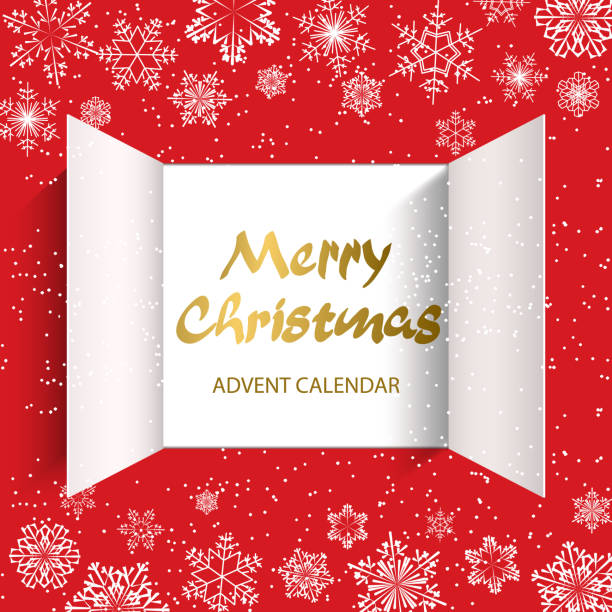 advent calendar doors opening - advent stock illustrations
