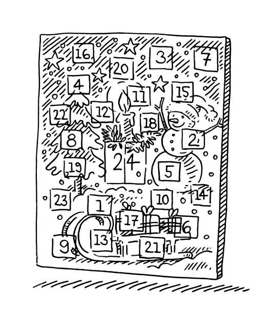 advent kalender-zeichnung - weihnachtsschokolade stock-grafiken, -clipart, -cartoons und -symbole