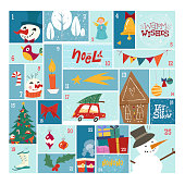 Advent calendar in funny style. Illustrations in mid-century style. Merry Holidays. Christmas stamp collection.