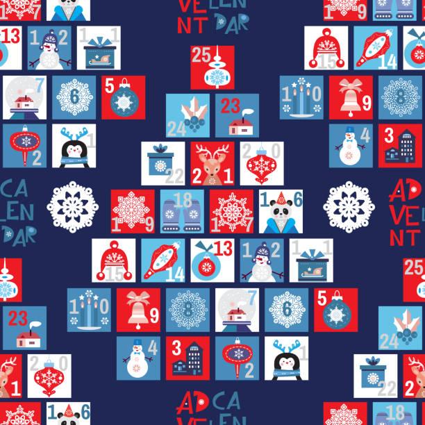 adventskalender nahtloses muster - adventskalender tür stock-grafiken, -clipart, -cartoons und -symbole
