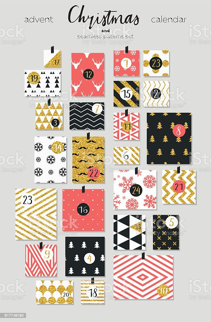 Advent calendar. Seamless patterns set vector art illustration