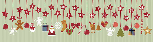 advents-kalender - adventskalender stock-grafiken, -clipart, -cartoons und -symbole