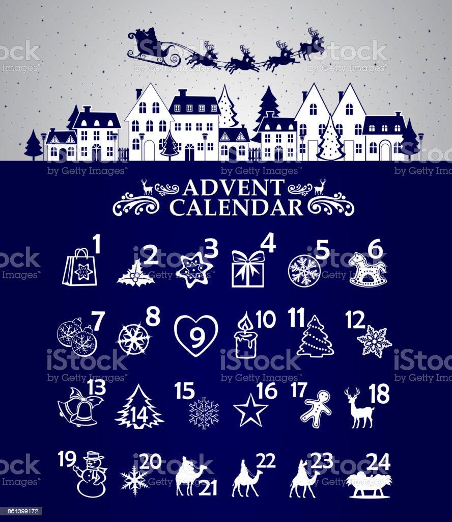 Calendario navideño - ilustración de arte vectorial