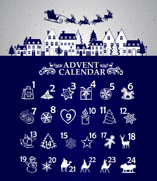 ilustrações, clipart, desenhos animados e ícones de calendário adventista - advento