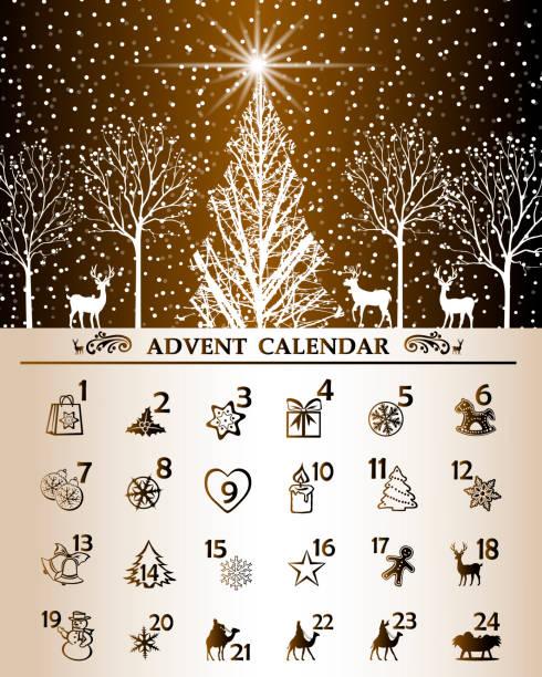 ilustraciones, imágenes clip art, dibujos animados e iconos de stock de calendario navideño - adviento